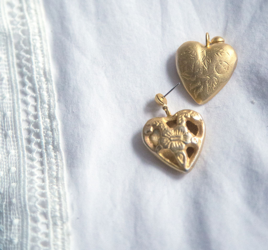 Vintage Brushed Gold Floral Heart Earrings