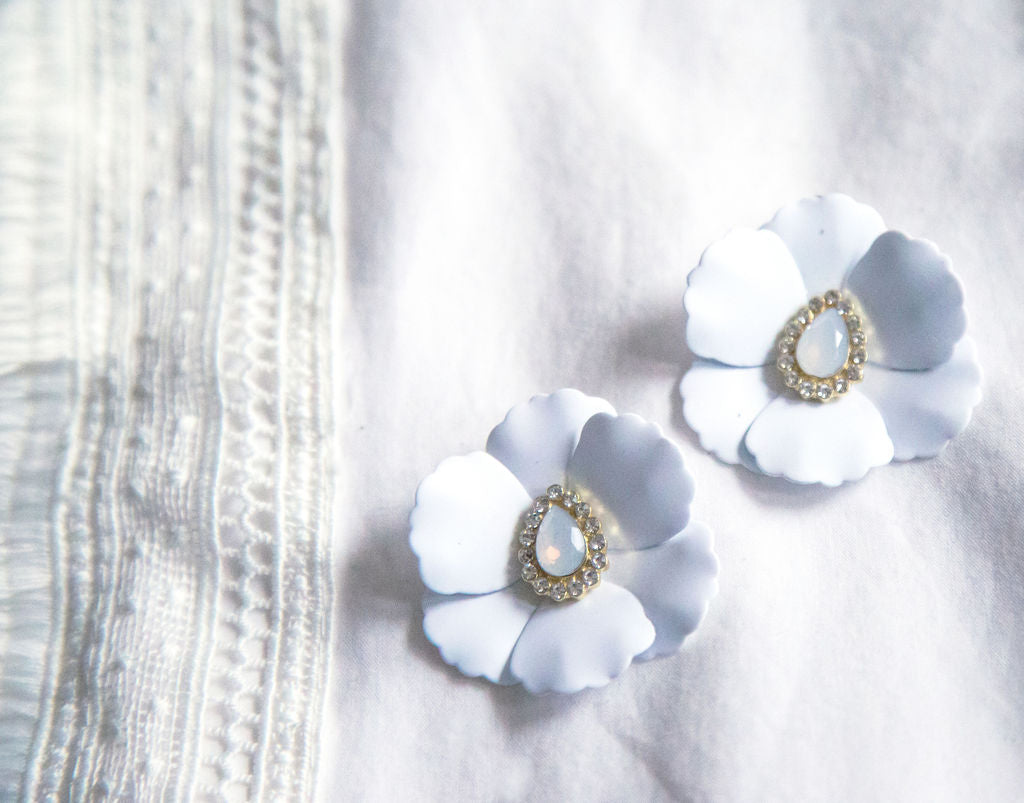 Over-sized White Floral Statement Earrings