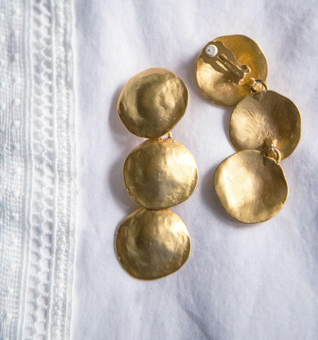 Brushed Gold 3 Tier Clip On Earrings