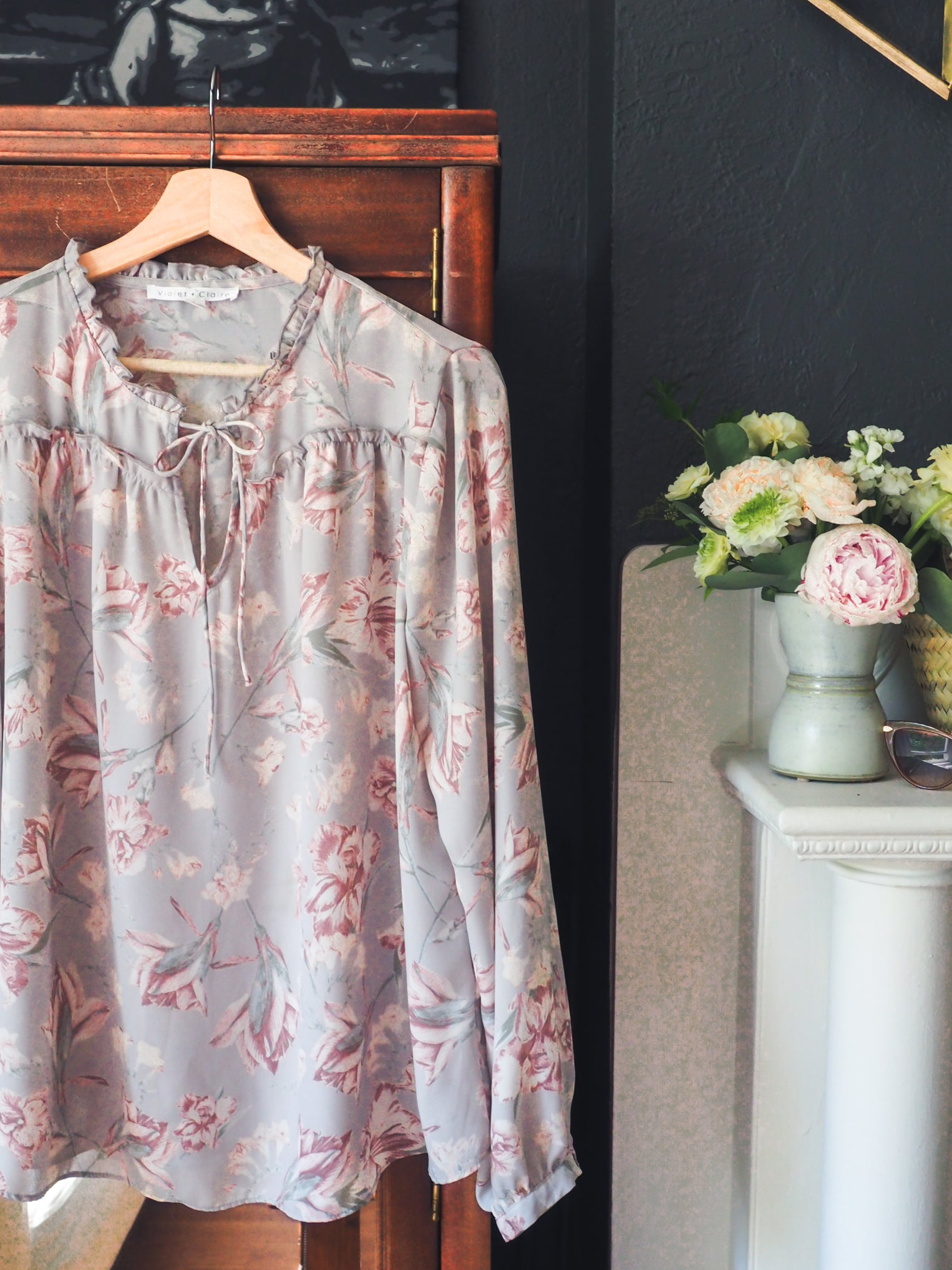 Gray Floral Peasant Blouse