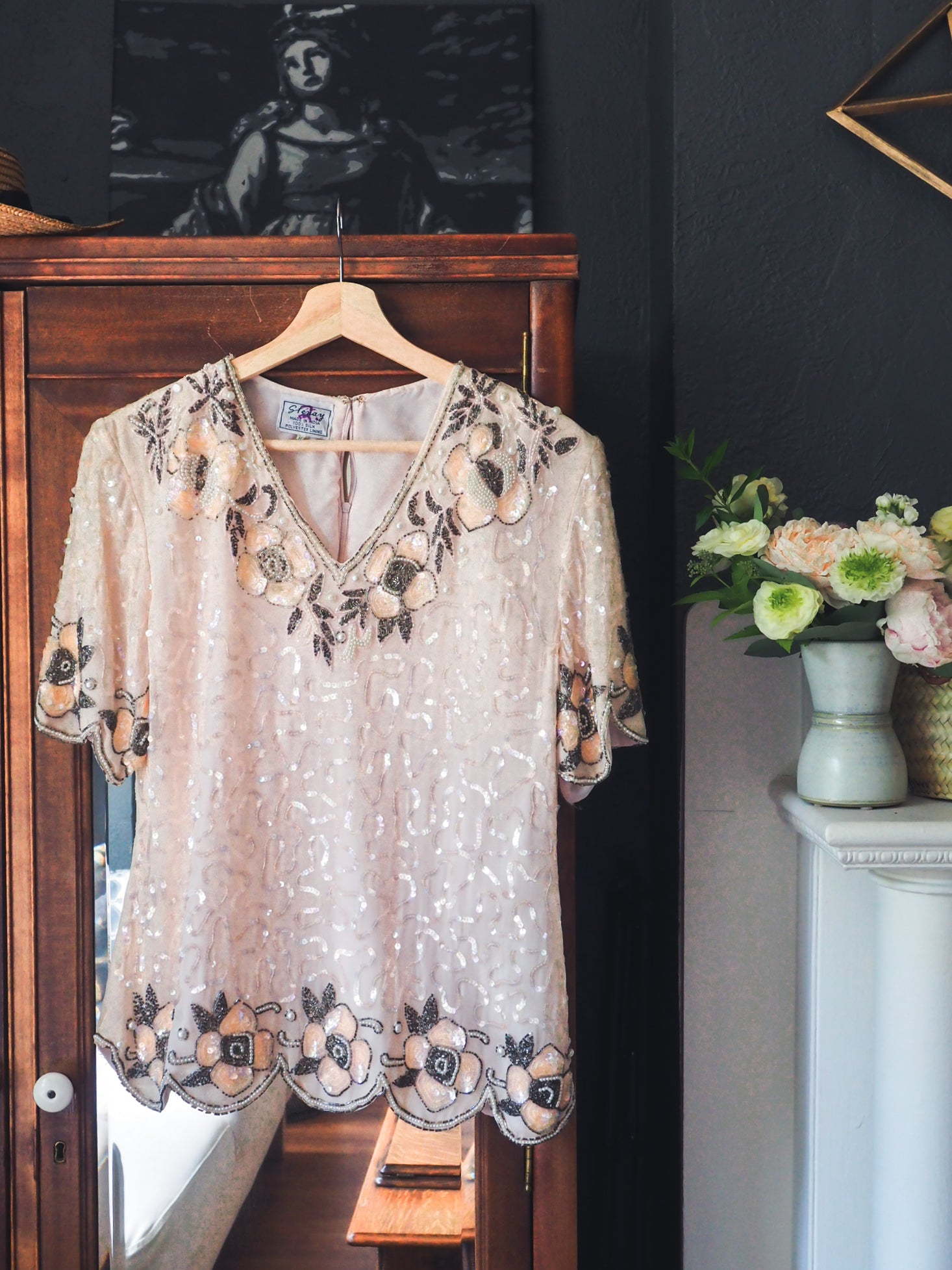 Vintage Blush Pink Statement Top