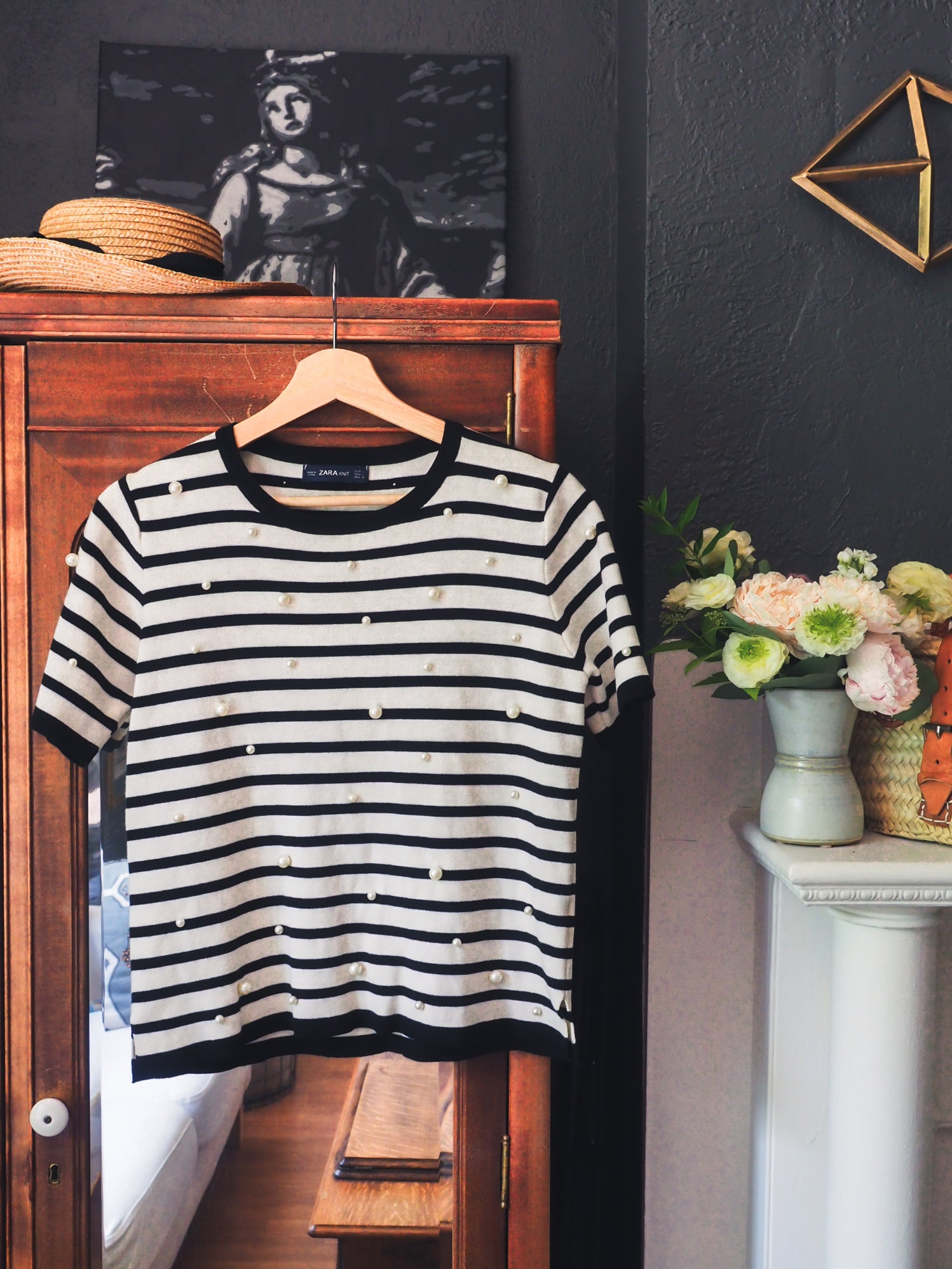 Striped Pearl Short Sleeve Top
