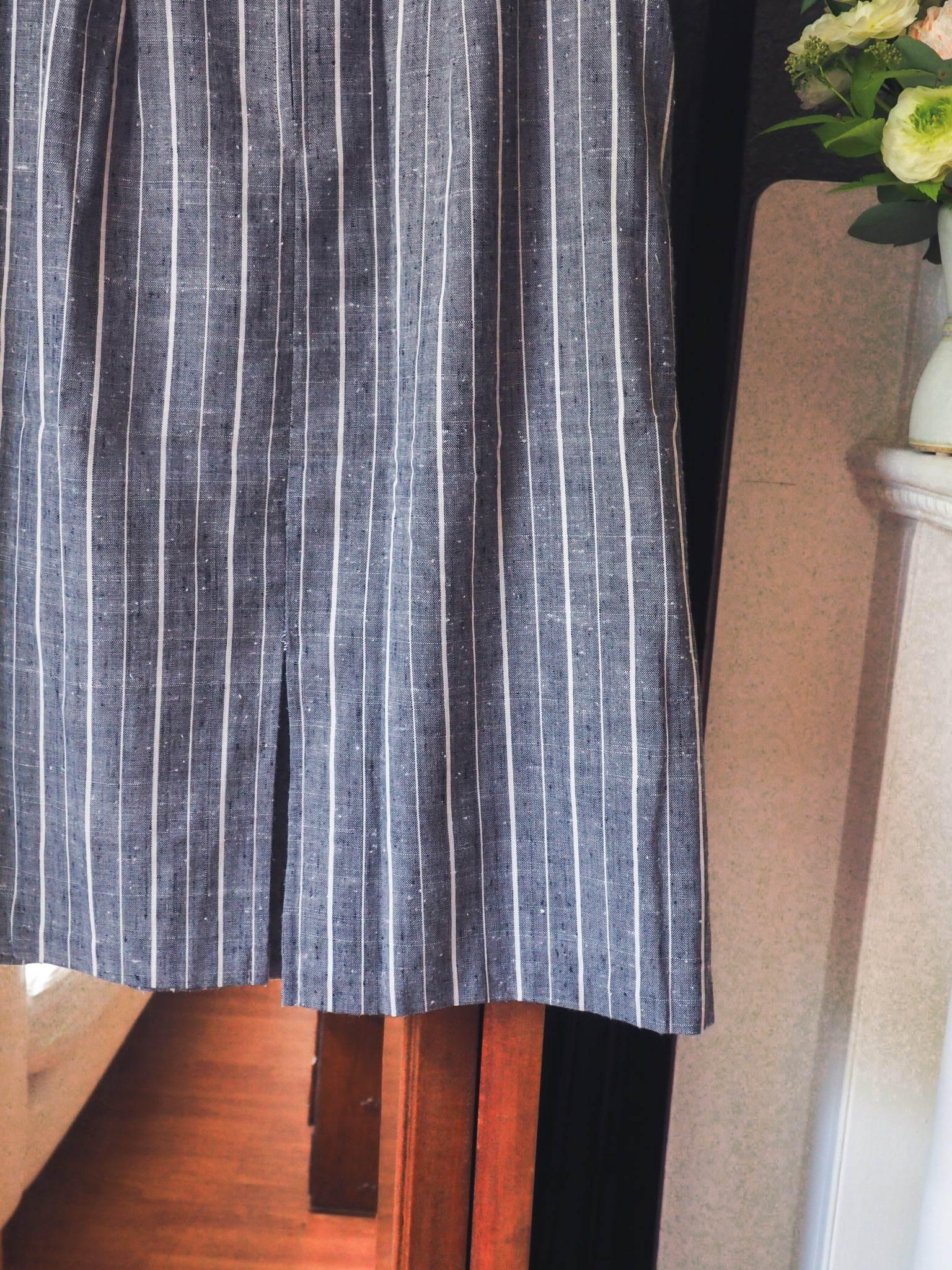 Hand Sewn French Striped Midi Skirt