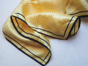 Vintage Silk Yellow and Navy Dot Scarf