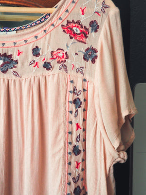 Dusty Rose Pink Peasant Dress
