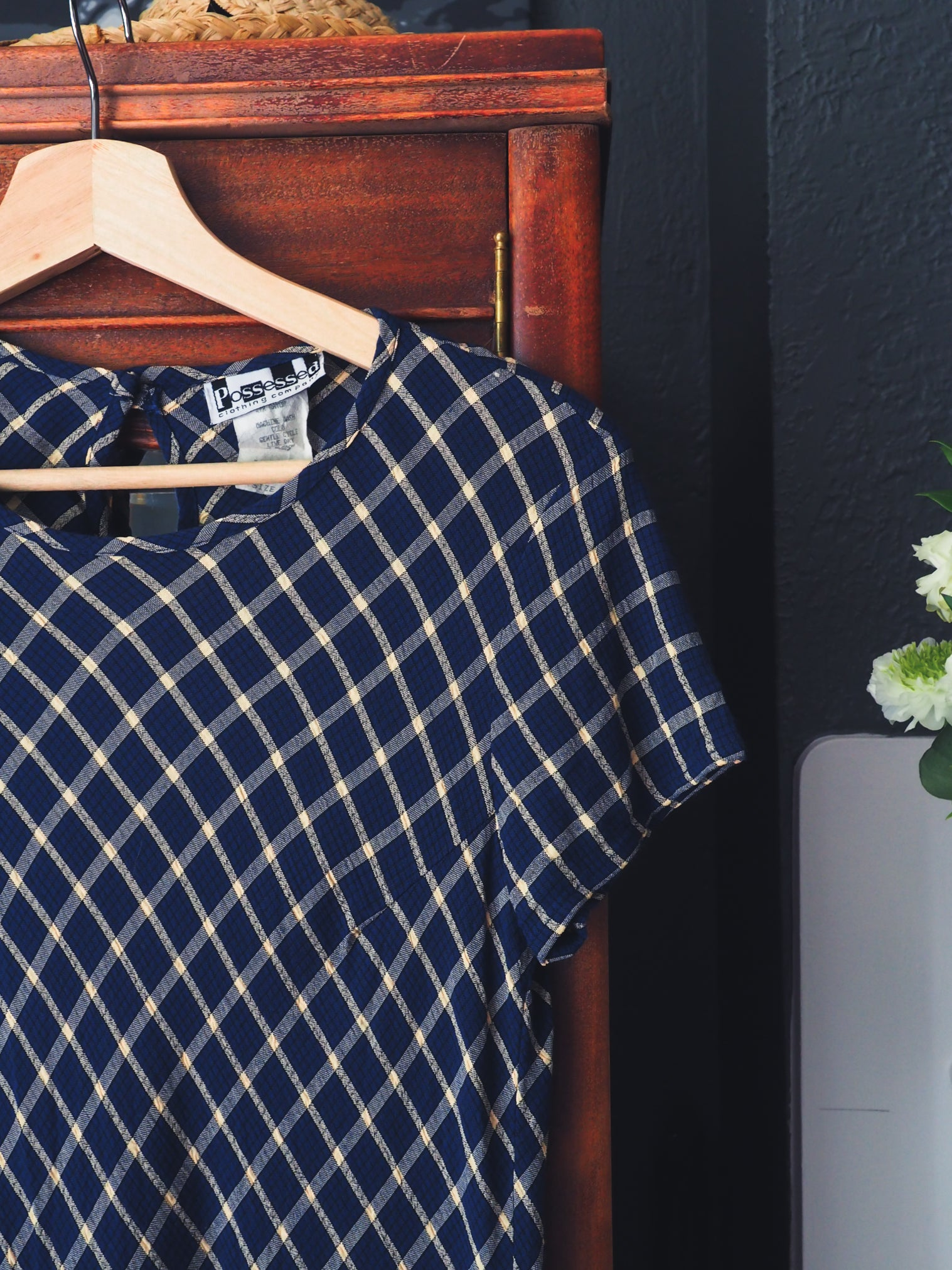 90s Navy Plaid Mini Dress