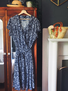 Plus-Size Floral Navy Ruffle Dress