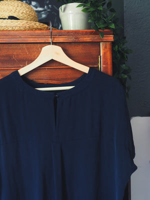 Banana Republic Navy Silk Blend Blouse