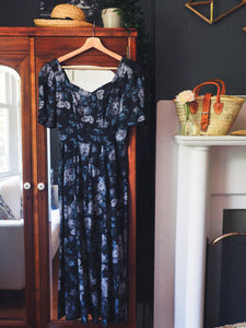 Vintage Dark Floral Sweetheart Midi Dress