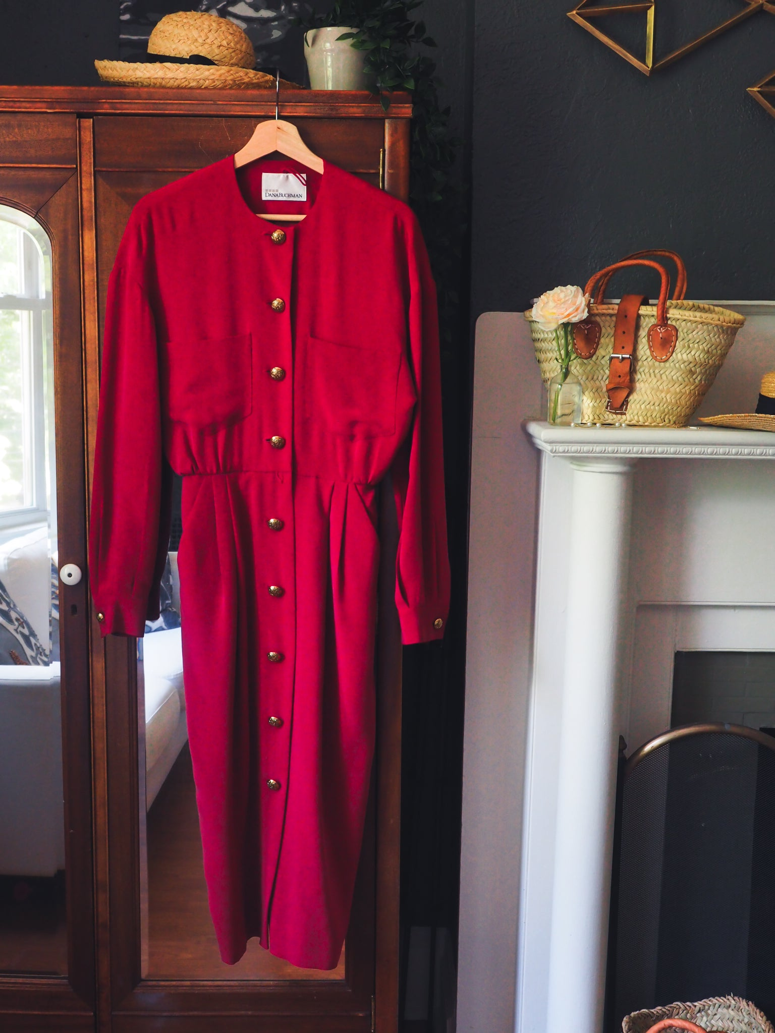 Vintage Red Silk Button Front Midi Dress