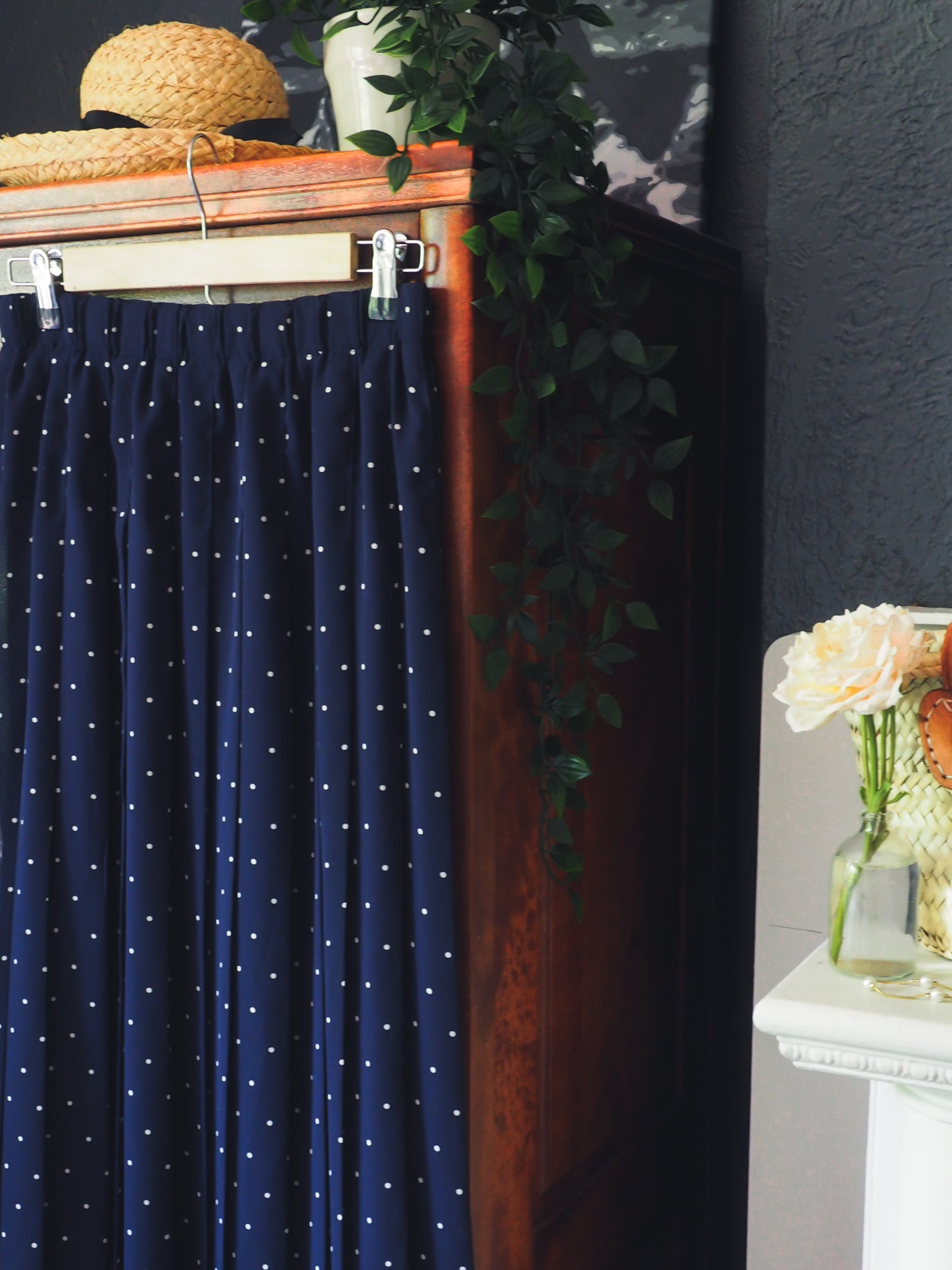 Vintage Navy Polka Dot Midi Skirt