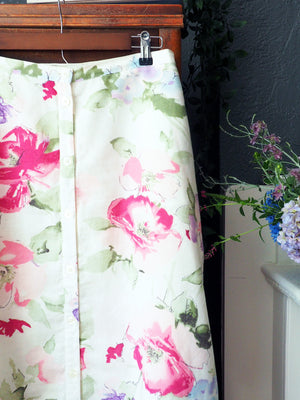 Linen Cotton A-line Water Color Floral Midi Skirt