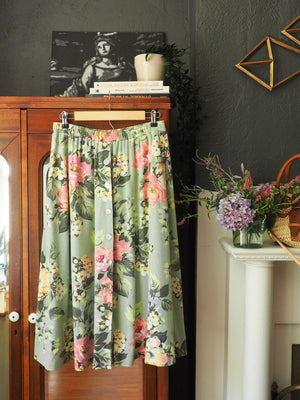 Vintage Cotton Green Floral Button-Front Skirt