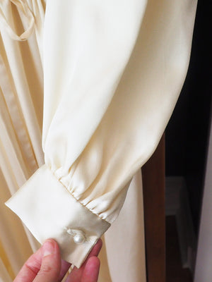 Vintage Satin Long-Sleeve Midi