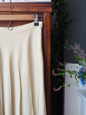 Vintage French Beige Pleated Midi Skirt