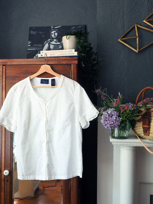100% Cotton Short-Sleeve Eyelet Button-Down