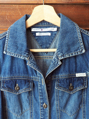 Vintage 90s Tommy Hilfiger Denim Drop-Waist Dress