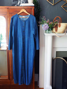 90s L.L. Bean Denim Button-Front Maxi Dress