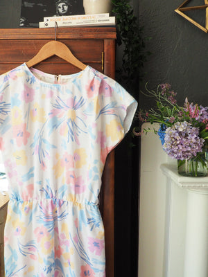 80s Pastel Abstract Floral Sundress