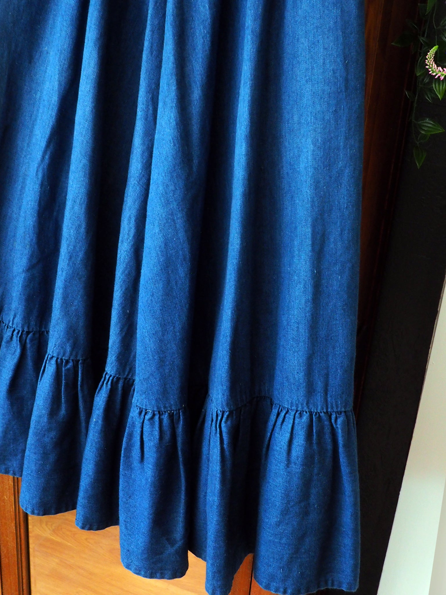 80s Denim Circle Ruffle Skirt