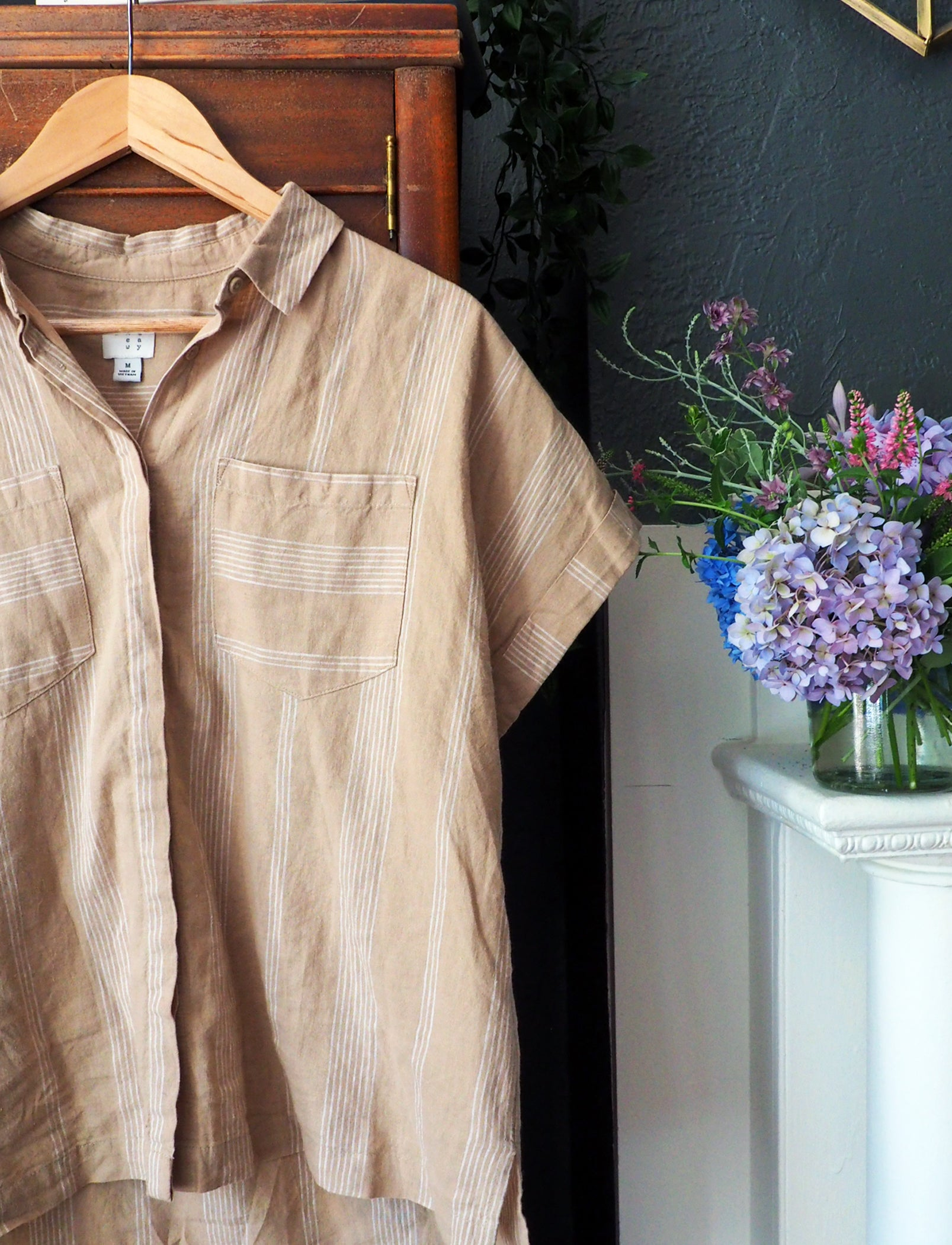 A New Day Beige French Stripe Button-Down