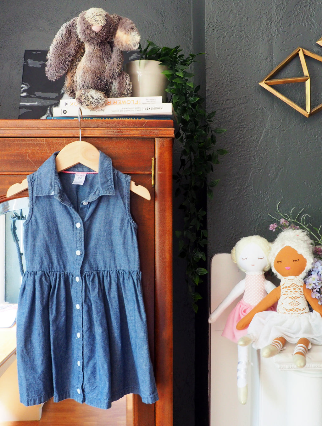 2T Girls Chambray Shirt Dress