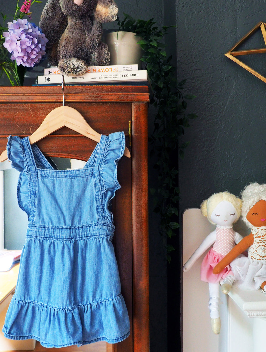 2T Girls Chambray Pinafore