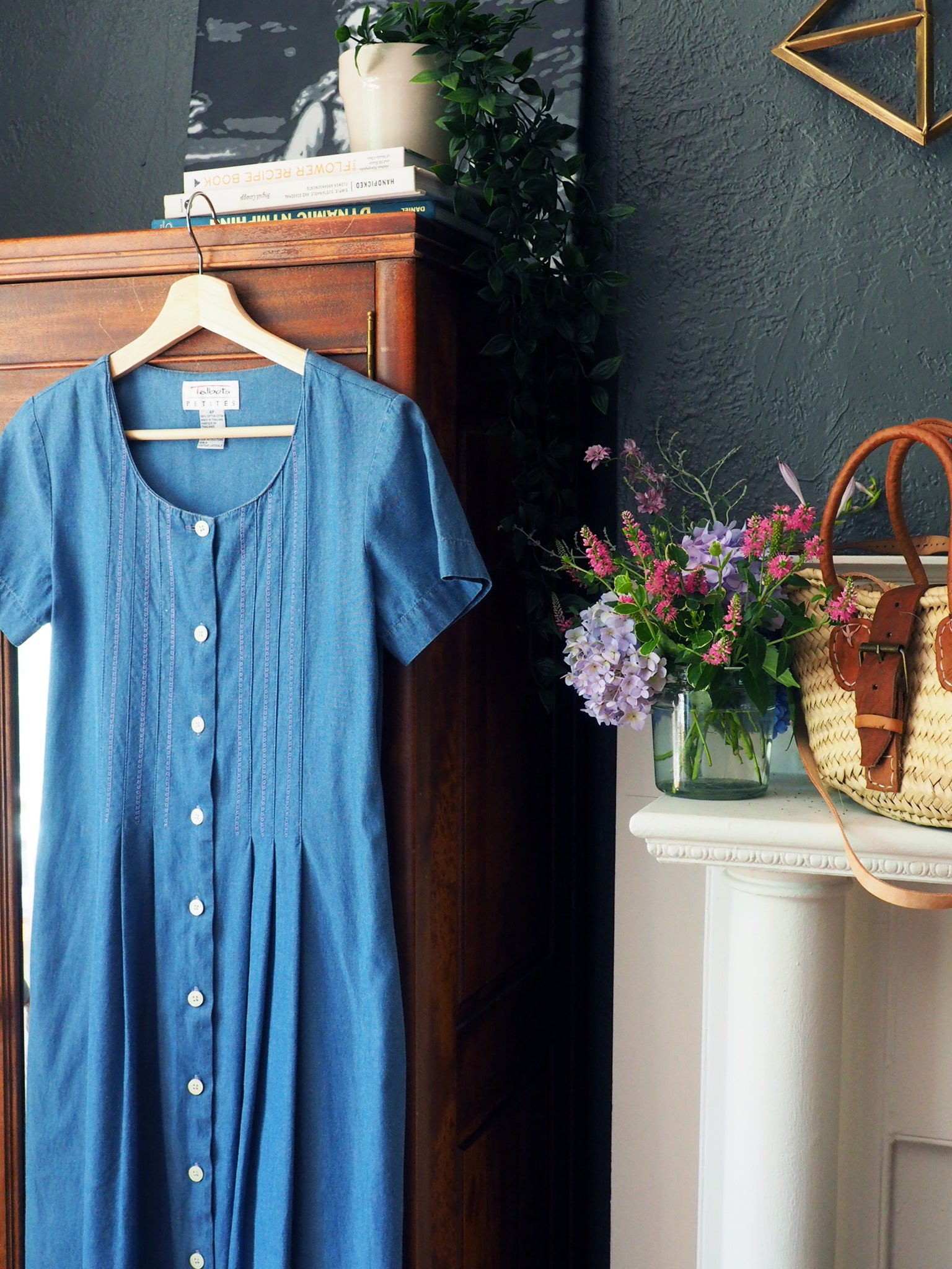 Vintage Denim Short Sleeve Button Front Midi Dress