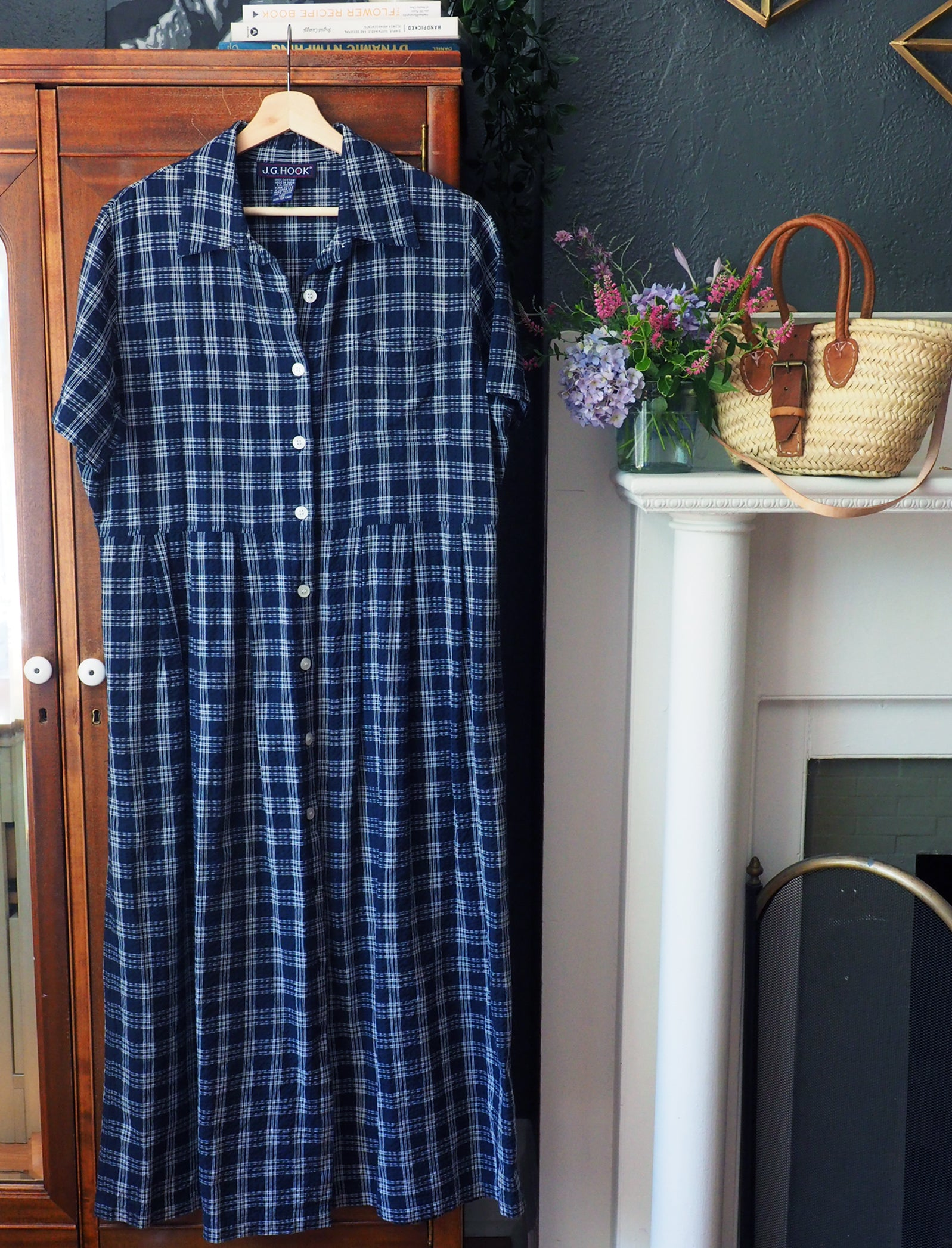 90s Navy Plaid Short-Sleeve Button-Front Dress