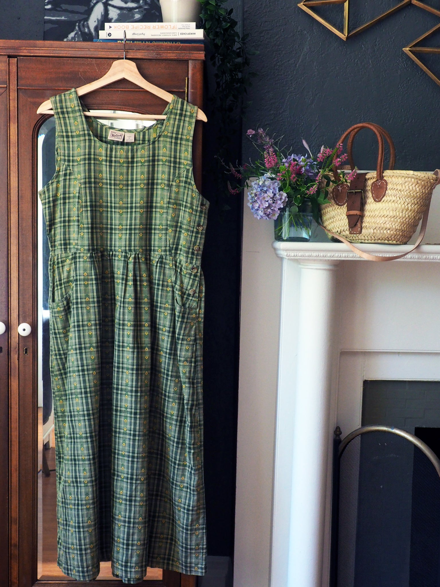 90s Green and Yellow Plaid Jumper Dress