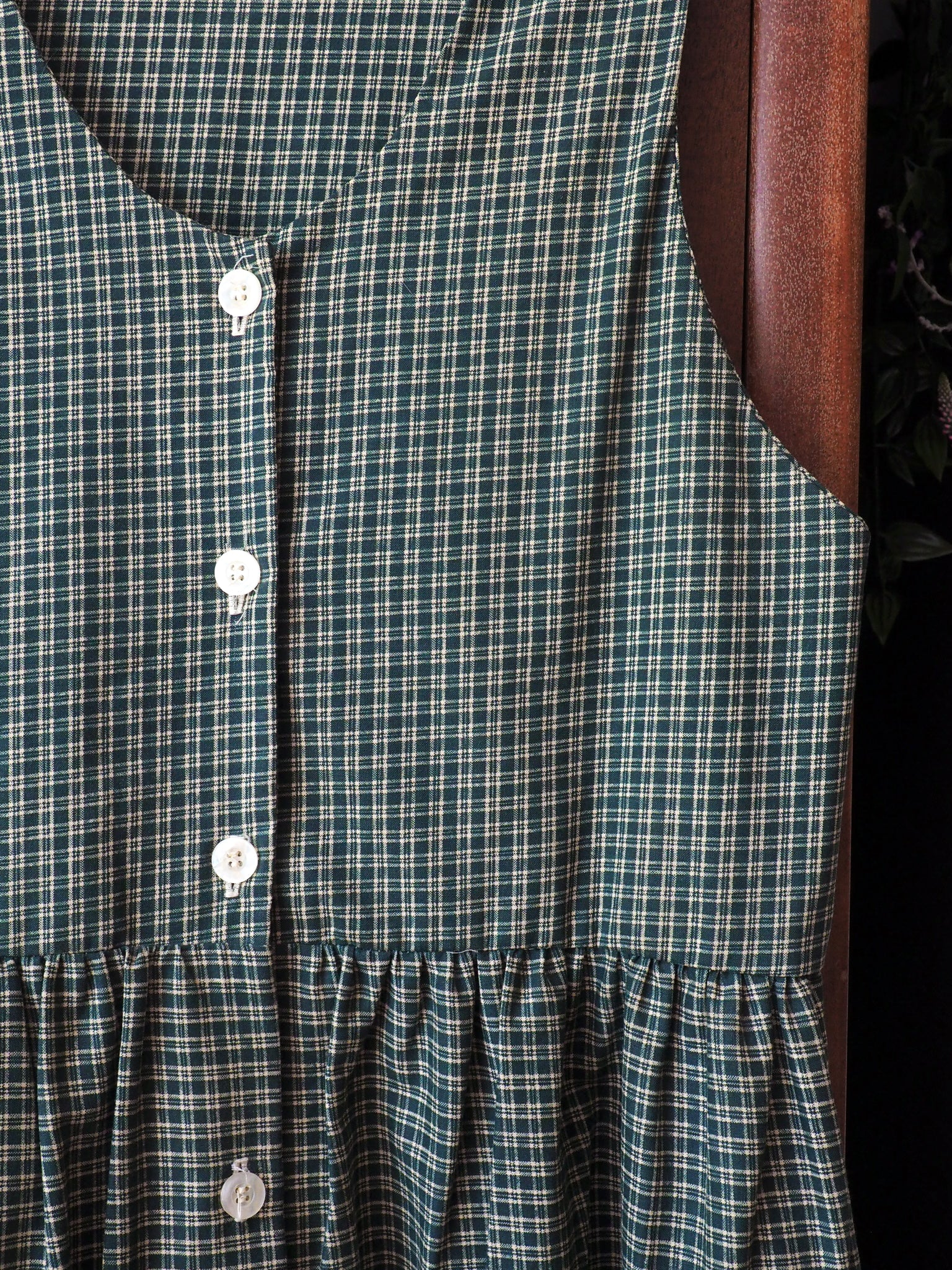 90s Green Plaid Button Front Jumper
