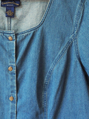 90s Denim Button-Front Blouse