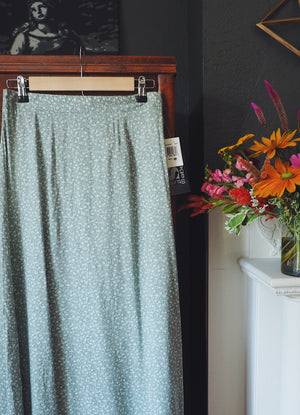 Sage Green Floral Maxi Skirt