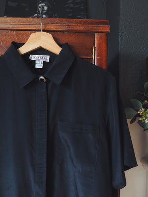 Vintage Black Short Sleeve Blouse