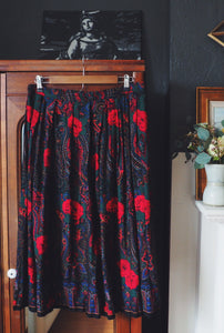 Vintage Red Rose Midi Skirt
