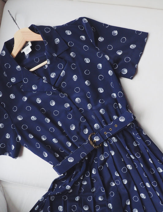 Vintage Navy Polka Dot Shirt Dress