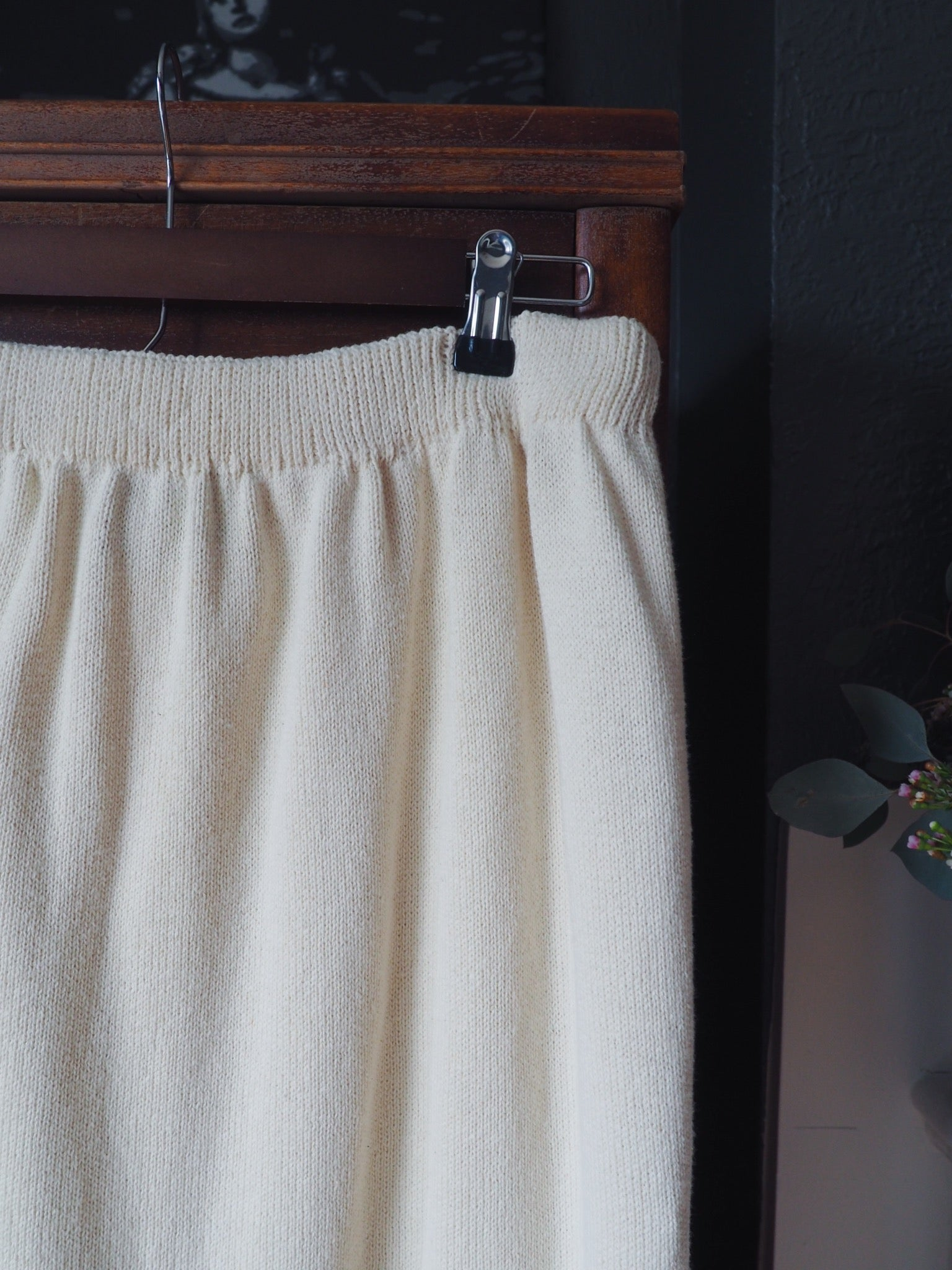 Vintage Cream Column Sweater Skirt