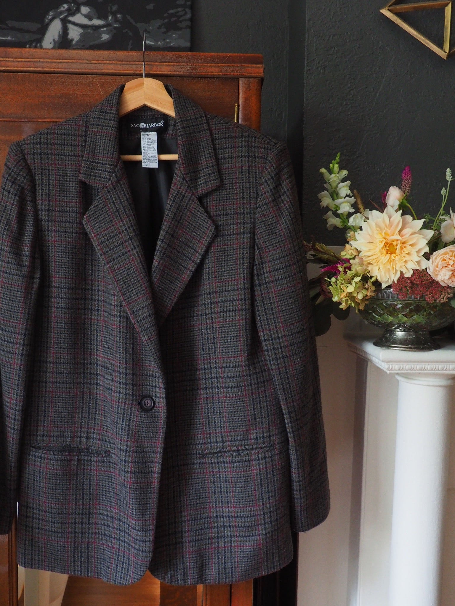 Vintage Gray Plaid Blazer