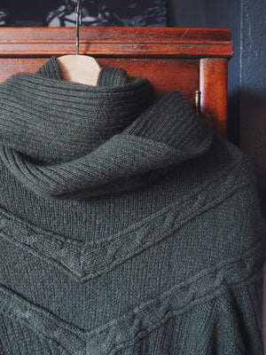 Vintage Green Knit Sweater with Scarf