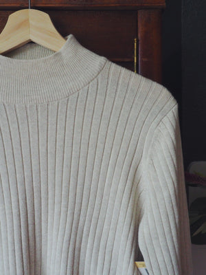 Vintage Cream Cotton Turtleneck