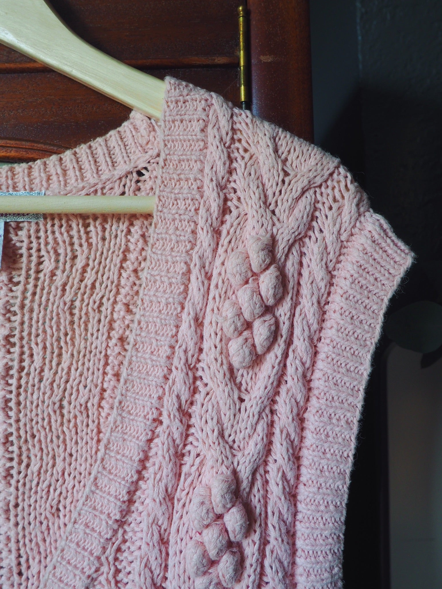 Vintage Pink Cable Knit Sweater Vest