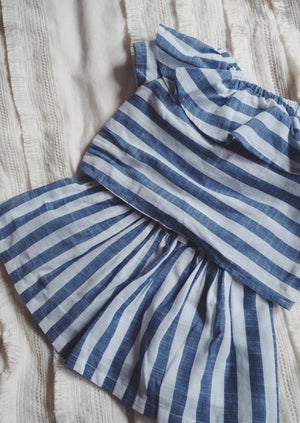 12M Baby Blue and White Striped Blouse and Skirt