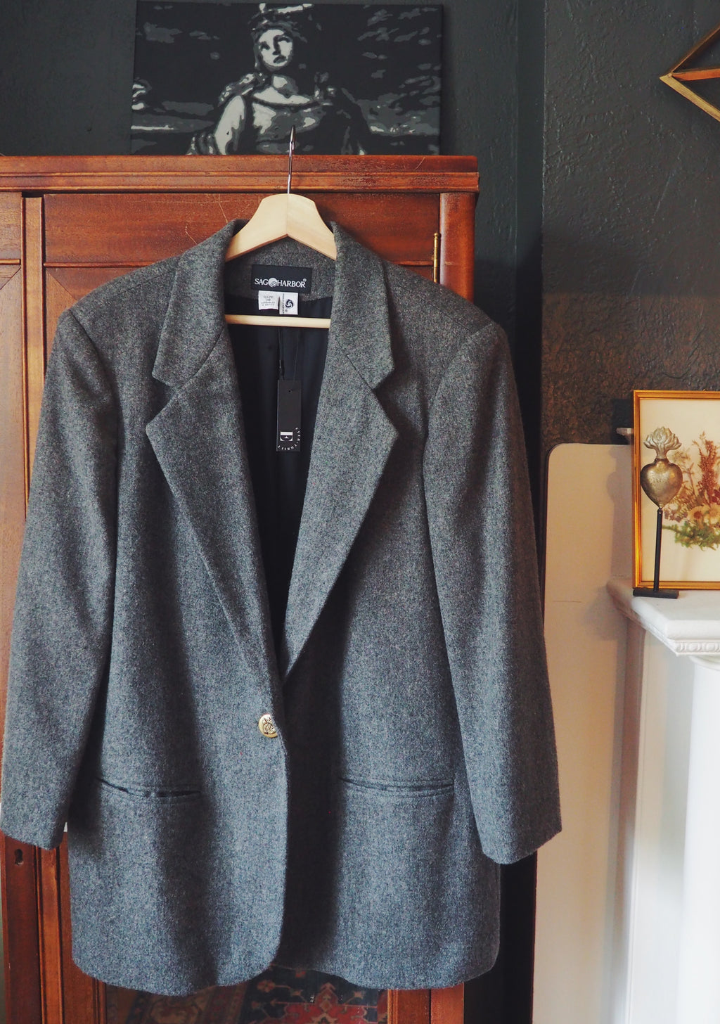 Vintage 100% Wool Dark Gray Blazer