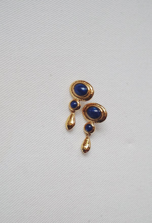 Vintage Navy Drop Earrings