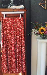 90s Floral Button Front Midi Skirt