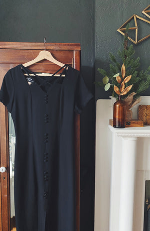 80s Black Short Sleeve Midi