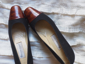 Vintage Two-Toned Square Toe Pumps