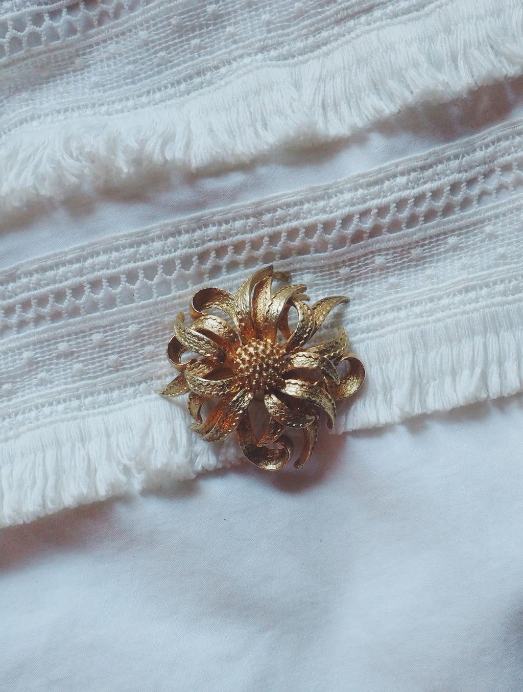 Vintage Brass Floral Statement Pin