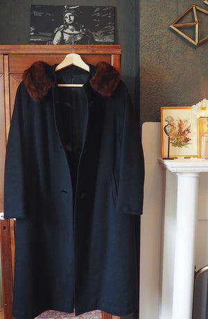60s Fur Collar Winter Coat
