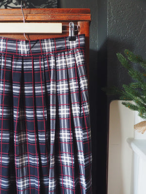 Vintage Plaid Pleated Midi Skirt